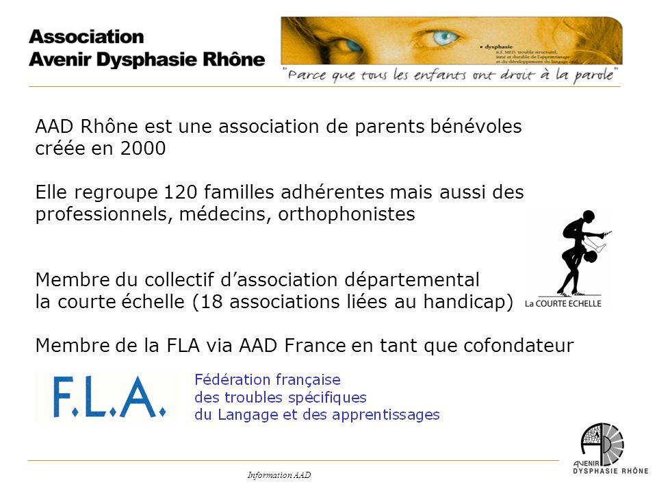 Information AAD AAD Rhône est une association de parents bénévoles créée en 2000 Elle regroupe 120 familles adhérentes mais aussi des professionnels,