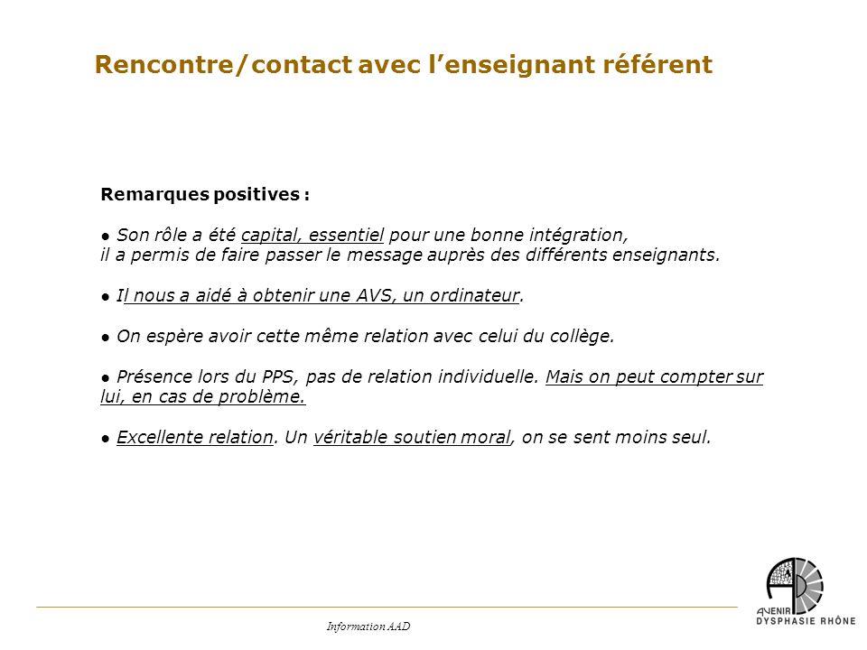 Information AAD Rencontre/contact avec lenseignant référent Remarques positives : Son rôle a été capital, essentiel pour une bonne intégration, il a p