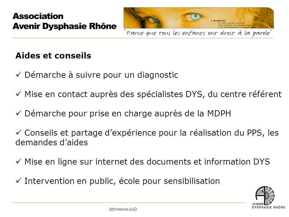 Information AAD Aides et conseils Démarche à suivre pour un diagnostic Mise en contact auprès des spécialistes DYS, du centre référent Démarche pour p
