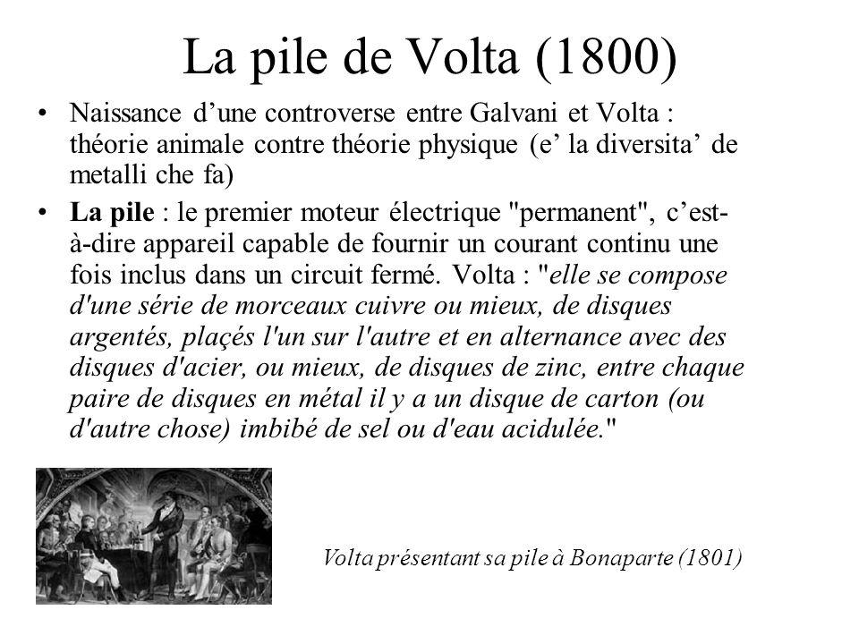La pile de Volta (1800) Naissance dune controverse entre Galvani et Volta : théorie animale contre théorie physique (e la diversita de metalli che fa)