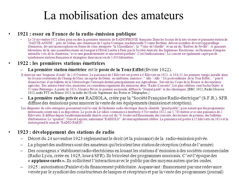 1921 : essor en France de la radio-émission publique –Le 26 novembre 1921 a lieu peut-on dire la première émission de RADIOPHONIE française. Dans les