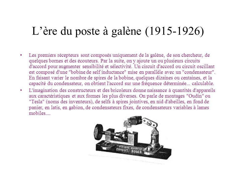 Lère du poste à galène (1915-1926) Les premiers récepteurs sont composés uniquement de la galène, de son chercheur, de quelques bornes et des écouteur