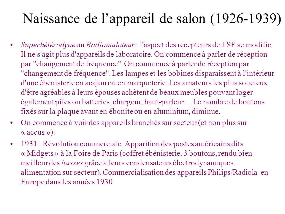 Naissance de lappareil de salon (1926-1939) Superhétérodyne ou Radiomulateur : l'aspect des récepteurs de TSF se modifie. Il ne s'agit plus d'appareil