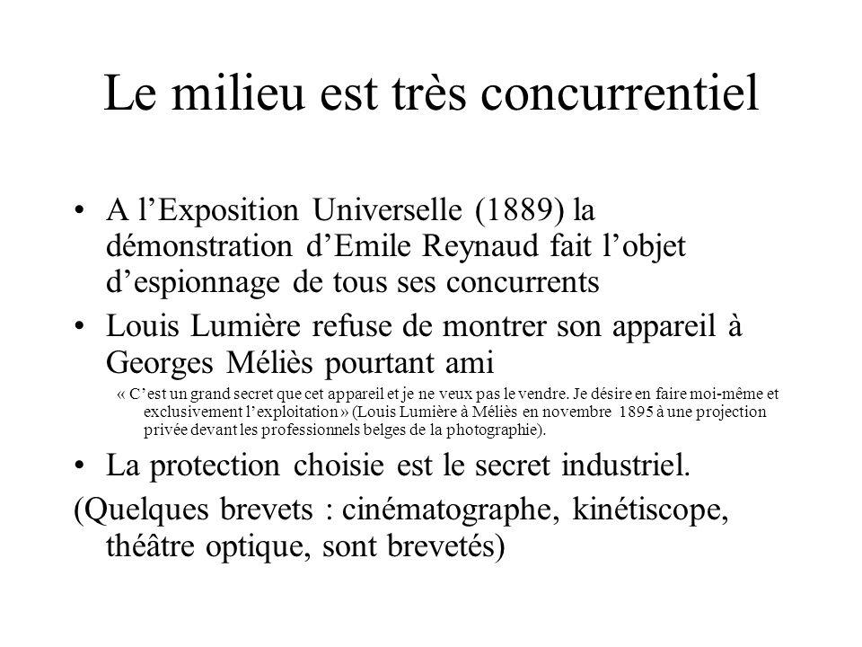 Le milieu est très concurrentiel A lExposition Universelle (1889) la démonstration dEmile Reynaud fait lobjet despionnage de tous ses concurrents Loui