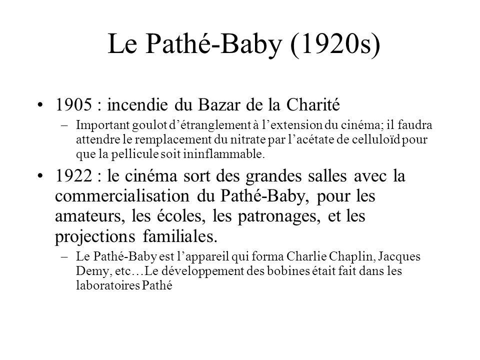 Le Pathé-Baby (1920s) 1905 : incendie du Bazar de la Charité –Important goulot détranglement à lextension du cinéma; il faudra attendre le remplacemen