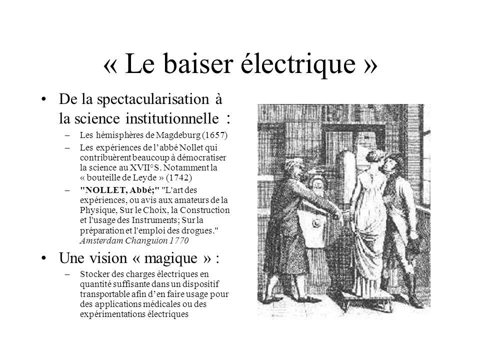 « Le baiser électrique » De la spectacularisation à la science institutionnelle : –Les hémisphères de Magdeburg (1657) –Les expériences de labbé Nolle