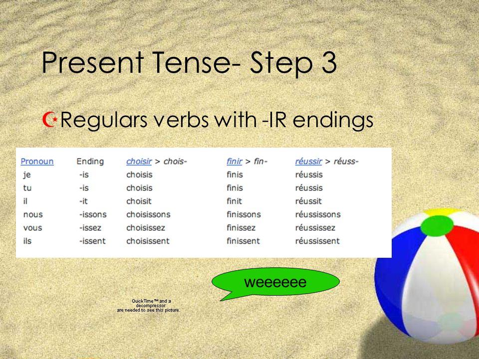 Present Tense- Step 3 ZRegulars verbs with -IR endings weeeeee