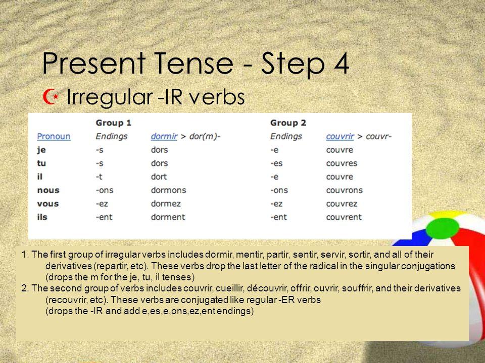Present Tense - Step 4 Z Irregular -IR verbs 1. The first group of irregular verbs includes dormir, mentir, partir, sentir, servir, sortir, and all of