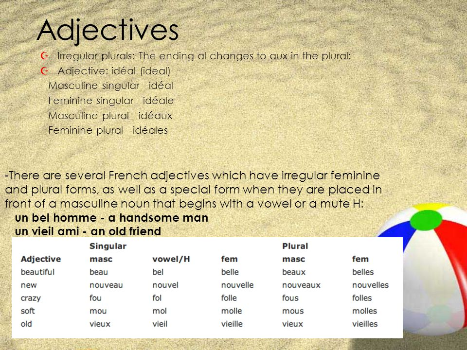 Adjectives ZIrregular plurals: The ending al changes to aux in the plural: ZAdjective: idéal (ideal) Masculine singular idéal Feminine singular idéale Masculine plural idéaux Feminine plural idéales -There are several French adjectives which have irregular feminine and plural forms, as well as a special form when they are placed in front of a masculine noun that begins with a vowel or a mute H: un bel homme - a handsome man un vieil ami - an old friend
