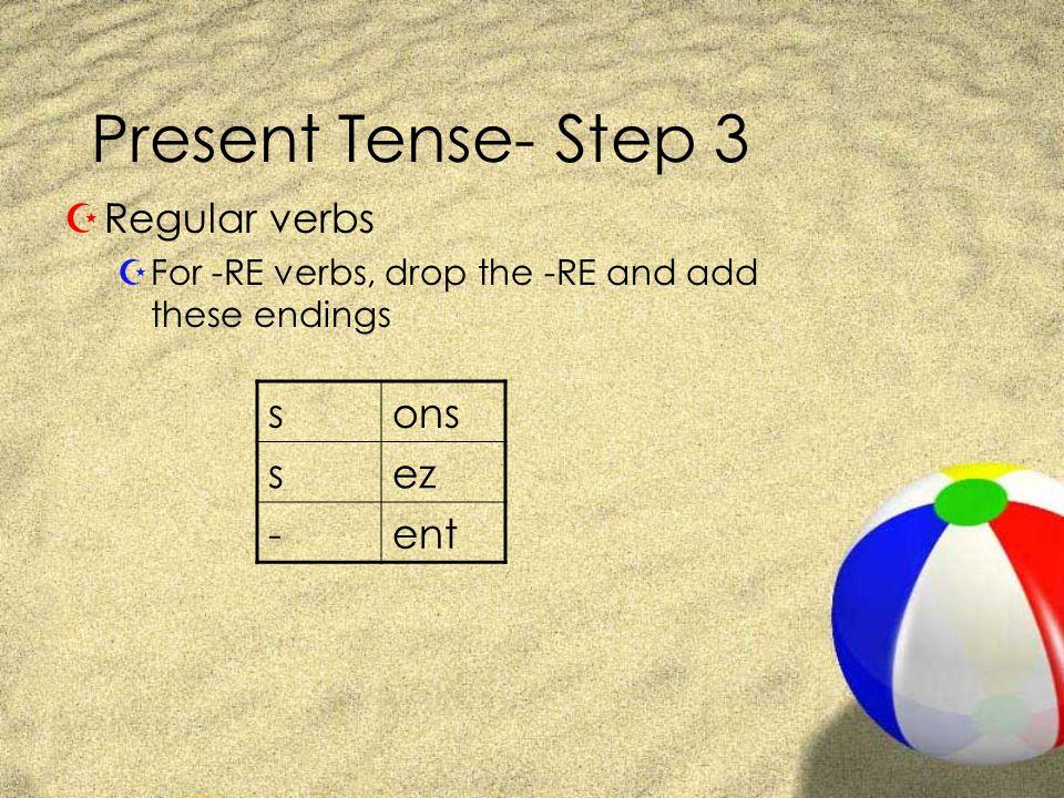 Present Tense- Step 3 ZRegular Verbs with -RE endings