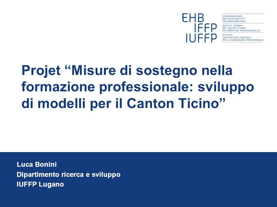 Projet Misure di sostegno nella formazione professionale: sviluppo di modelli per il Canton Ticino Luca Bonini Dipartimento ricerca e sviluppo IUFFP Lugano
