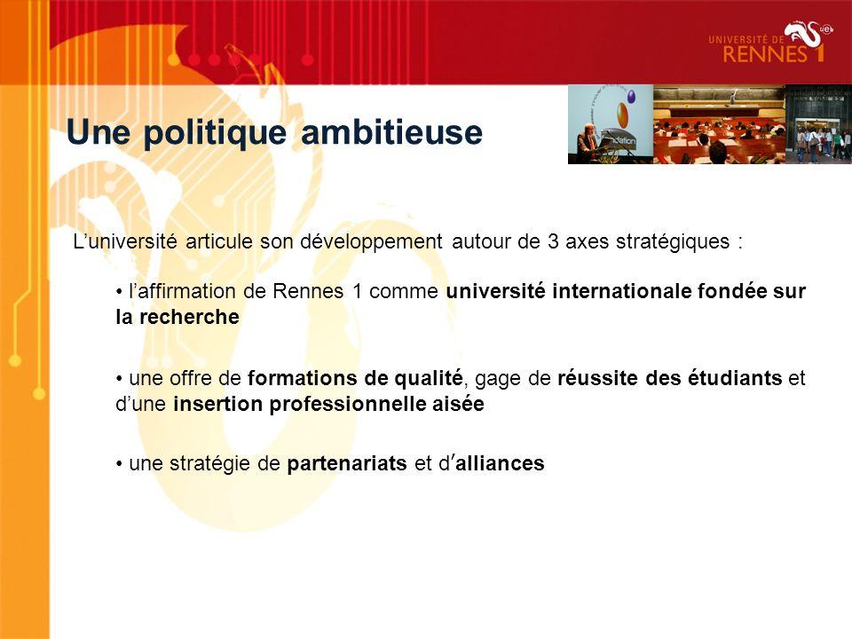 Luniversité articule son développement autour de 3 axes stratégiques : laffirmation de Rennes 1 comme université internationale fondée sur la recherch