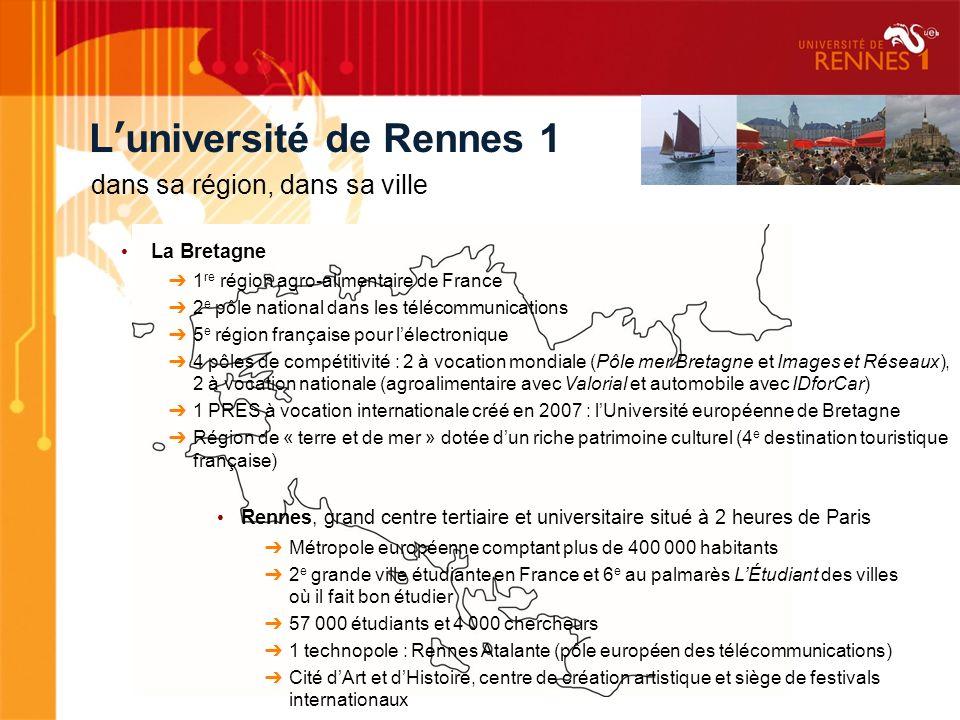 Luniversité de Rennes 1 dans sa région, dans sa ville La Bretagne 1 re région agro-alimentaire de France 2 e pôle national dans les télécommunications
