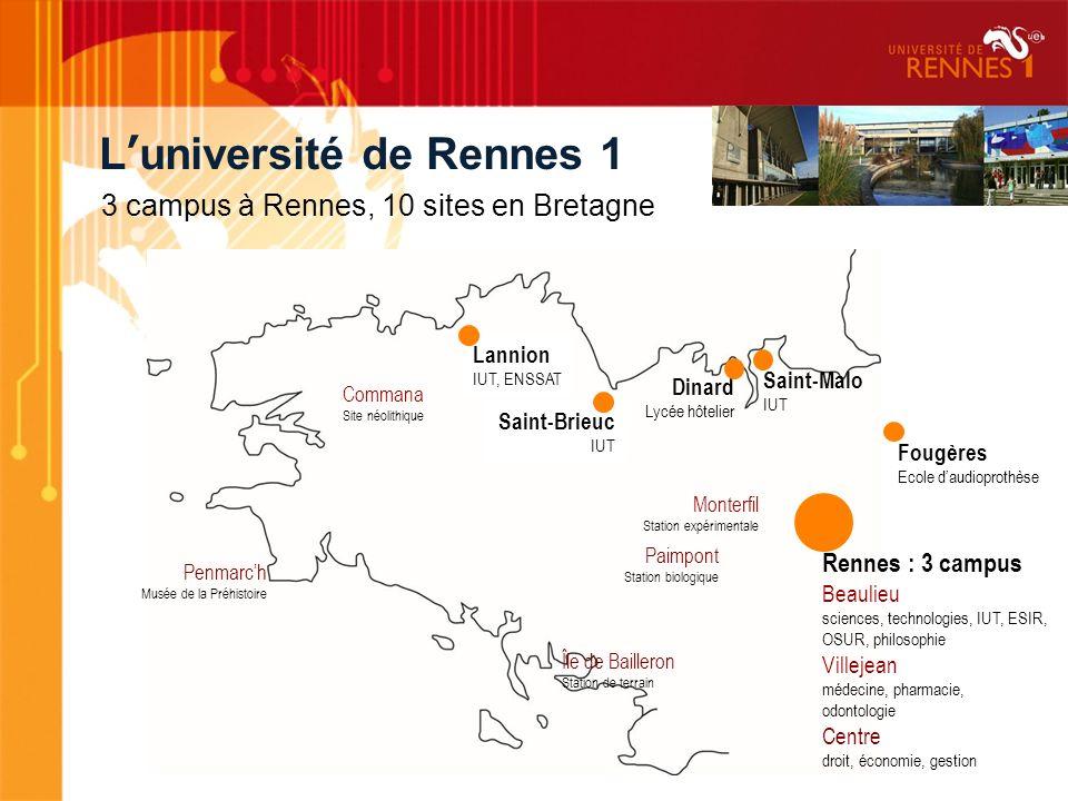 Luniversité de Rennes 1 Lannion IUT, ENSSAT Saint-Brieuc IUT Dinard Lycée hôtelier Saint-Malo IUT Fougères Ecole daudioprothèse Rennes : 3 campus Beau