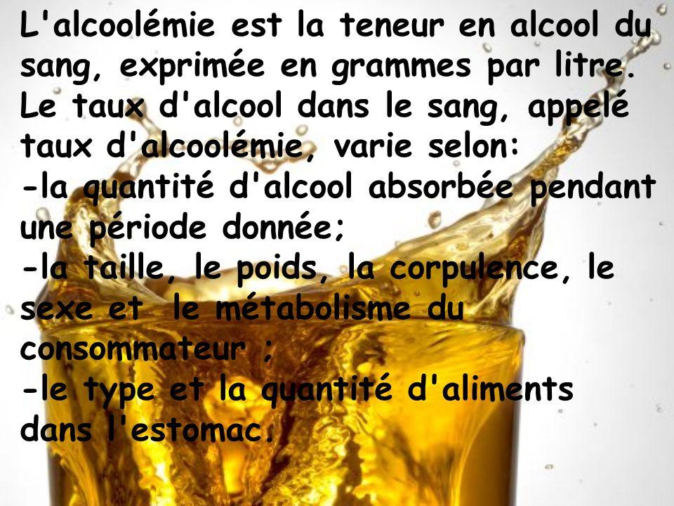 L'alcoolémie est la teneur en alcool du sang, exprimée en grammes par litre. Le taux d'alcool dans le sang, appelé taux d'alcoolémie, varie selon: -la