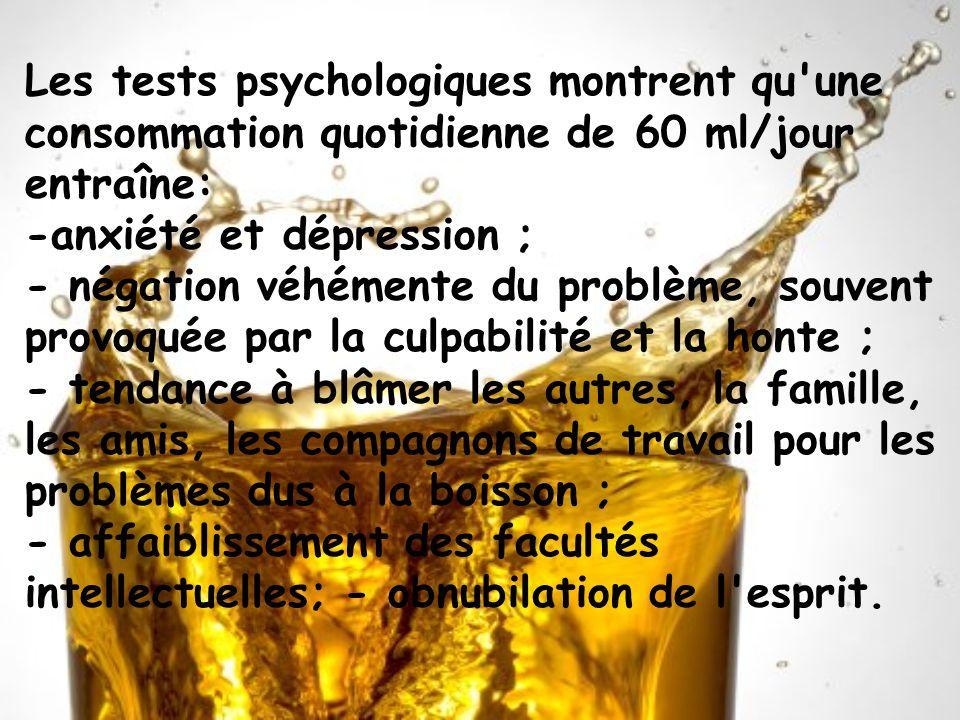 Les tests psychologiques montrent qu'une consommation quotidienne de 60 ml/jour entraîne: -anxiété et dépression ; - négation véhémente du problème, s