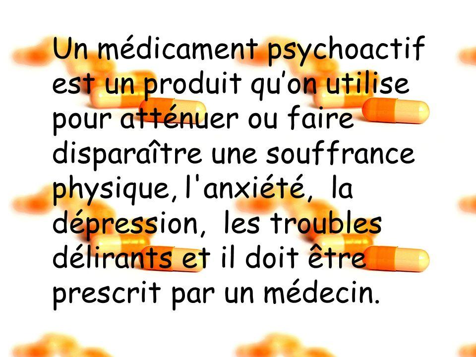 Un médicament psychoactif est un produit quon utilise pour atténuer ou faire disparaître une souffrance physique, l'anxiété, la dépression, les troubl