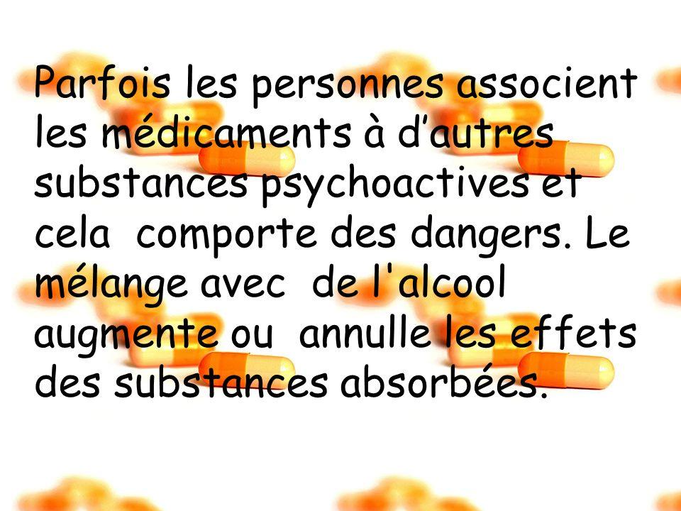 Parfois les personnes associent les médicaments à dautres substances psychoactives et cela comporte des dangers. Le mélange avec de l'alcool augmente