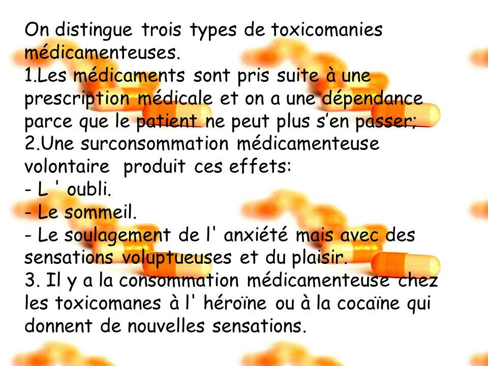 On distingue trois types de toxicomanies médicamenteuses. 1.Les médicaments sont pris suite à une prescription médicale et on a une dépendance parce q
