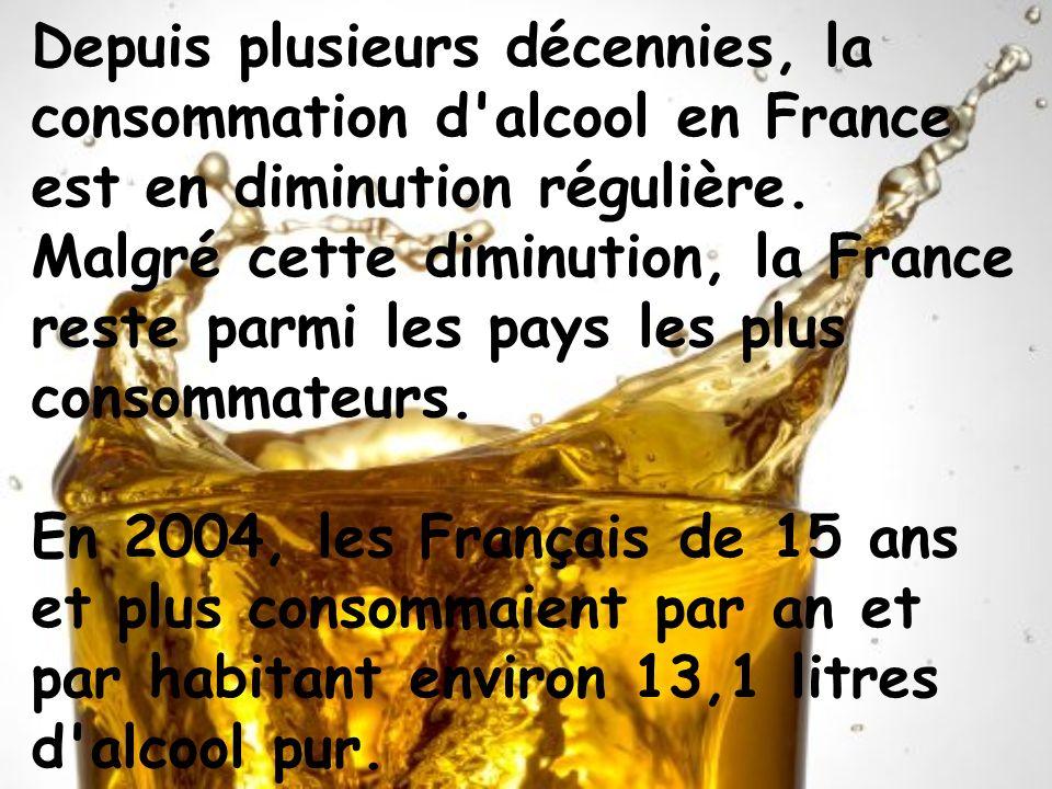 Depuis plusieurs décennies, la consommation d'alcool en France est en diminution régulière. Malgré cette diminution, la France reste parmi les pays le
