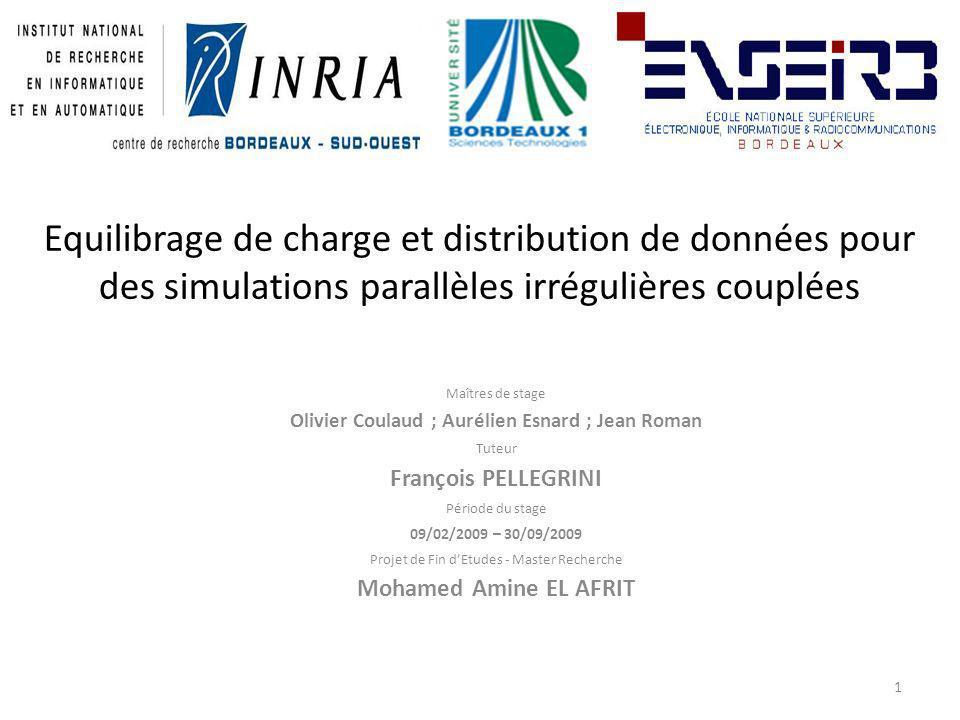 Equilibrage de charge et distribution de données pour des simulations parallèles irrégulières couplées 1 Maîtres de stage Olivier Coulaud ; Aurélien E