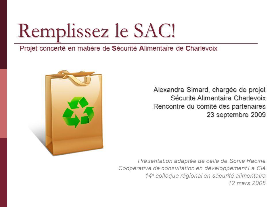 Remplissez le SAC! Projet concerté en matière de Sécurité Alimentaire de Charlevoix Présentation adaptée de celle de Sonia Racine Coopérative de consu
