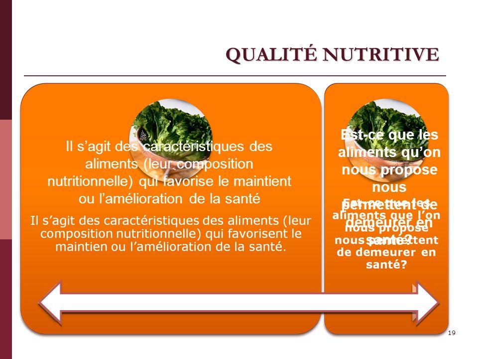 QUALITÉ NUTRITIVE 19 Il sagit des caractéristiques des aliments (leur composition nutritionnelle) qui favorise le maintient ou lamélioration de la san