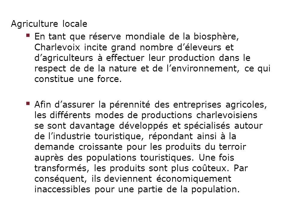 Agriculture locale En tant que réserve mondiale de la biosphère, Charlevoix incite grand nombre déleveurs et dagriculteurs à effectuer leur production