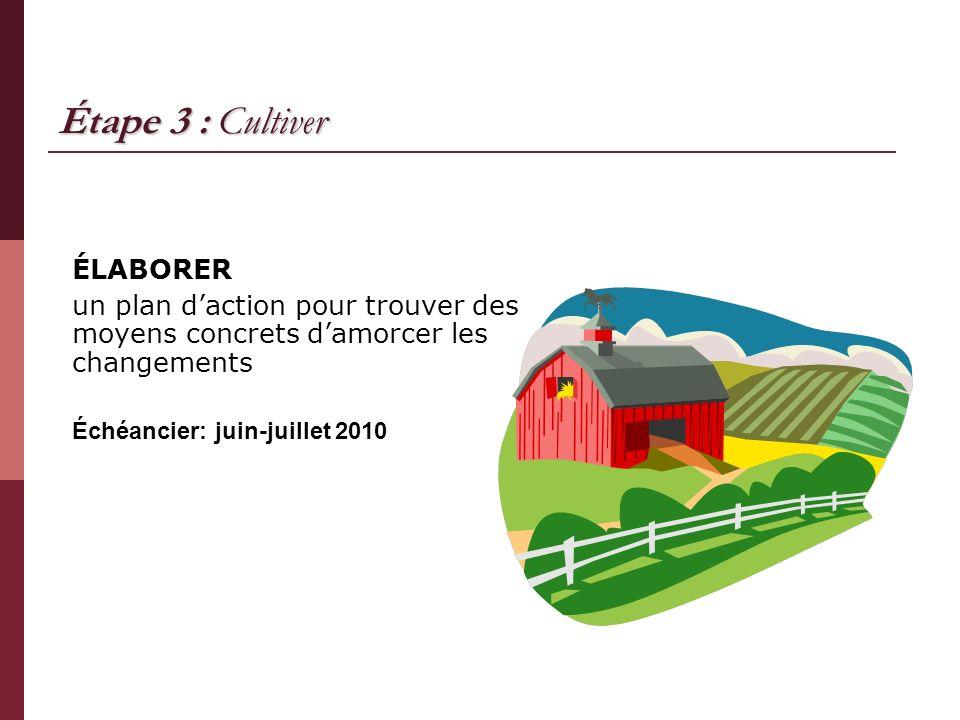 Étape 3 : Cultiver ÉLABORER un plan daction pour trouver des moyens concrets damorcer les changements Échéancier: juin-juillet 2010