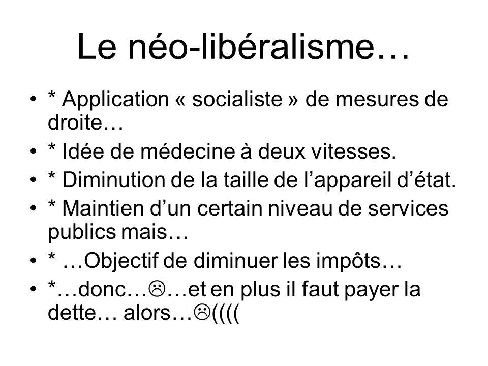 Le néo-libéralisme… * Application « socialiste » de mesures de droite… * Idée de médecine à deux vitesses. * Diminution de la taille de lappareil déta