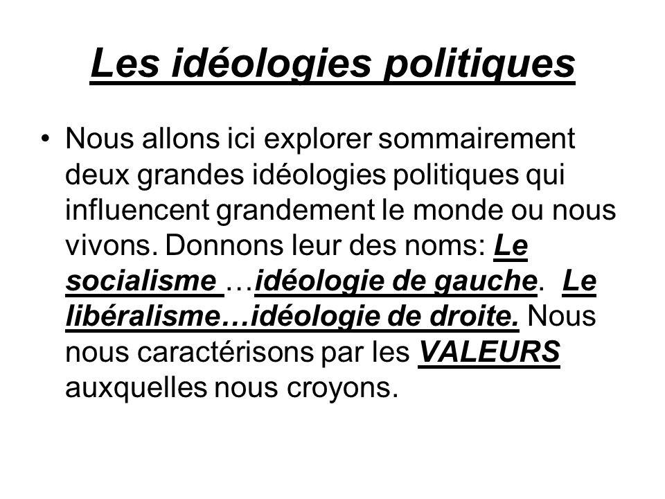 Les idéologies politiques Nous allons ici explorer sommairement deux grandes idéologies politiques qui influencent grandement le monde ou nous vivons.