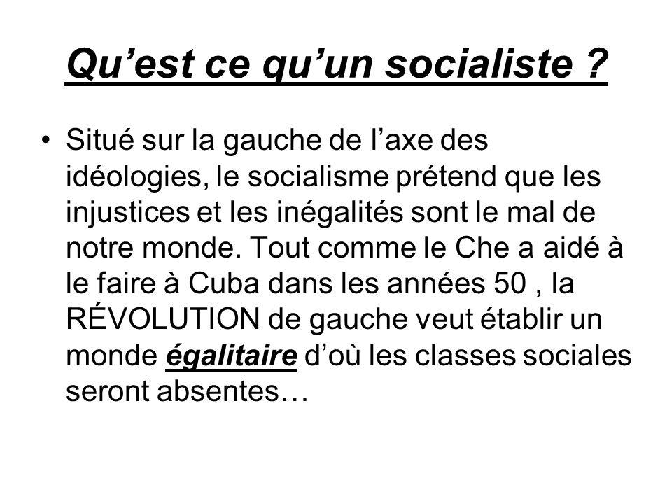 Quest ce quun socialiste ? Situé sur la gauche de laxe des idéologies, le socialisme prétend que les injustices et les inégalités sont le mal de notre