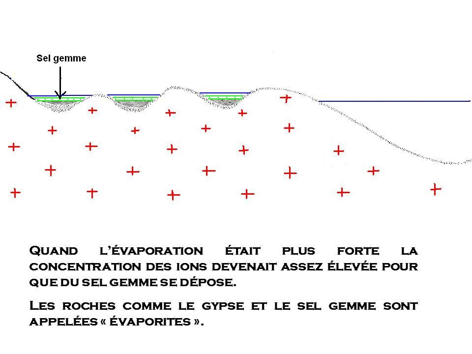 Quand lévaporation était plus forte la concentration des ions devenait assez élevée pour que du sel gemme se dépose. Les roches comme le gypse et le s