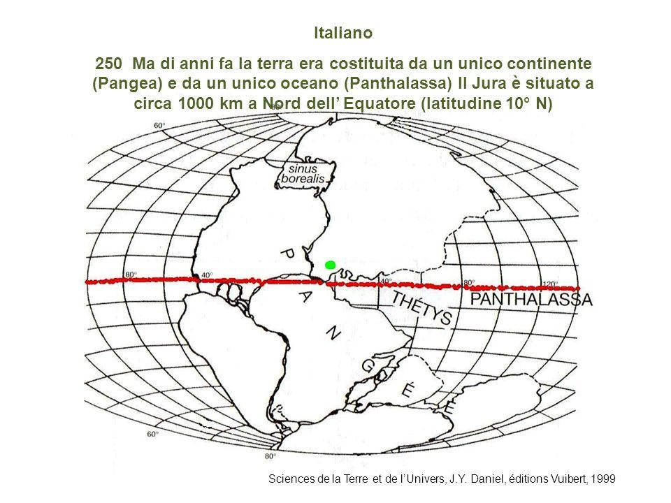 Sciences de la Terre et de lUnivers, J.Y. Daniel, éditions Vuibert, 1999 Italiano 250 Ma di anni fa la terra era costituita da un unico continente (Pa