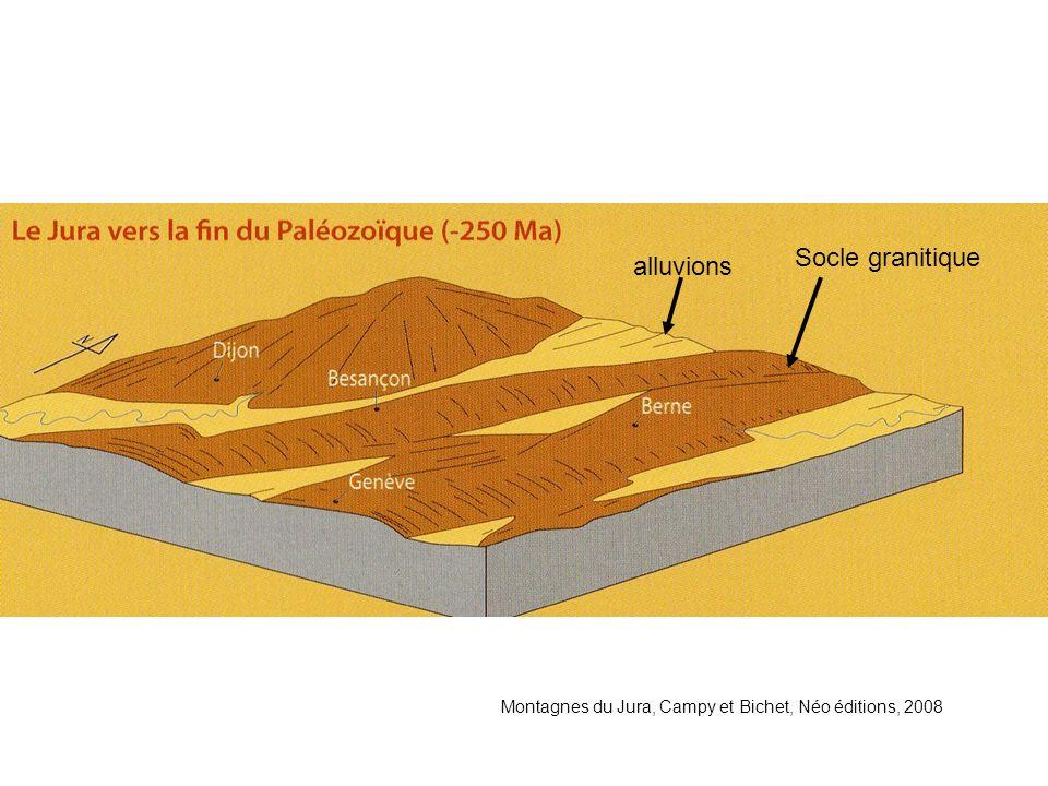 Montagnes du Jura, Campy et Bichet, Néo éditions, 2008 alluvioni Il Jura verso la fine del Paleozoico( -250 Ma) Basamento granitico