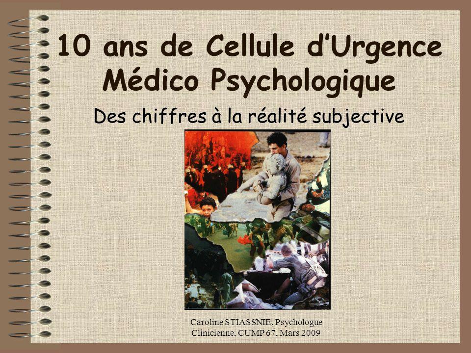 Caroline STIASSNIE, Psychologue Clinicienne, CUMP 67, Mars 2009 10 ans de Cellule dUrgence Médico Psychologique Des chiffres à la réalité subjective