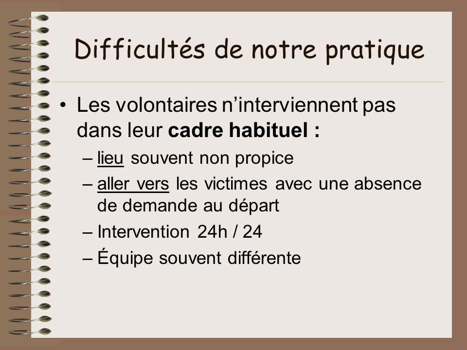 Difficultés de notre pratique Les volontaires ninterviennent pas dans leur cadre habituel : –lieu souvent non propice –aller vers les victimes avec un
