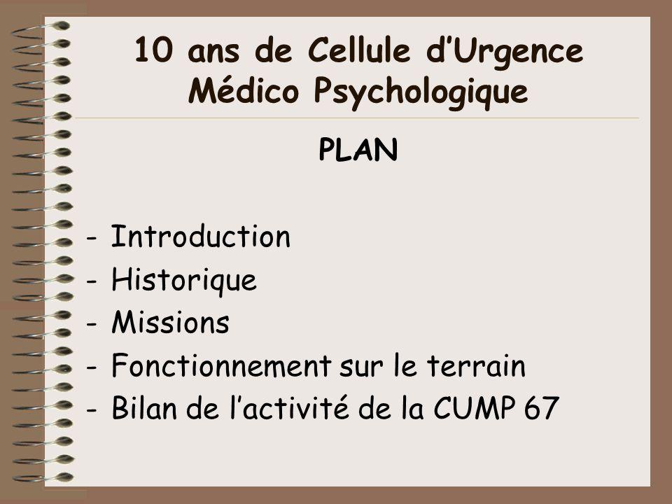 10 ans de Cellule dUrgence Médico Psychologique PLAN -Introduction -Historique -Missions -Fonctionnement sur le terrain -Bilan de lactivité de la CUMP