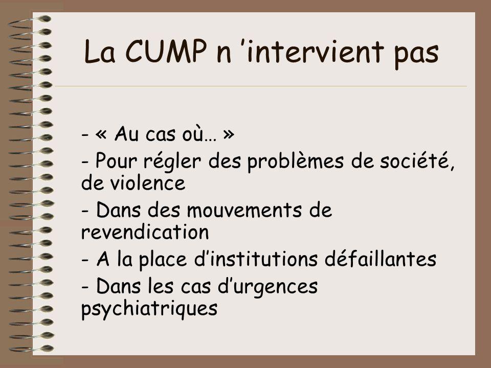 La CUMP n intervient pas - « Au cas où… » - Pour régler des problèmes de société, de violence - Dans des mouvements de revendication - A la place dins