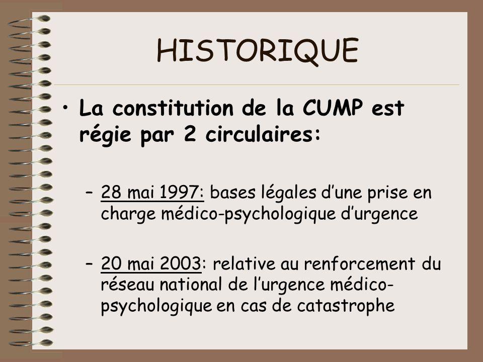 HISTORIQUE La constitution de la CUMP est régie par 2 circulaires: –28 mai 1997: bases légales dune prise en charge médico-psychologique durgence –20