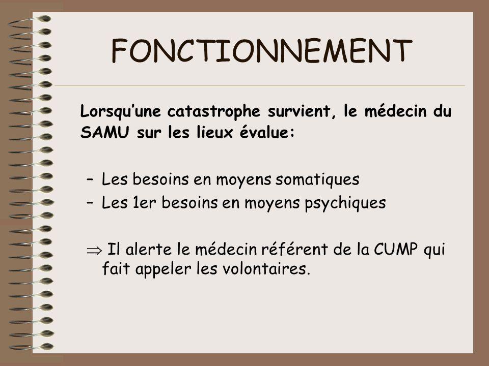FONCTIONNEMENT Lorsquune catastrophe survient, le médecin du SAMU sur les lieux évalue: –Les besoins en moyens somatiques –Les 1er besoins en moyens p