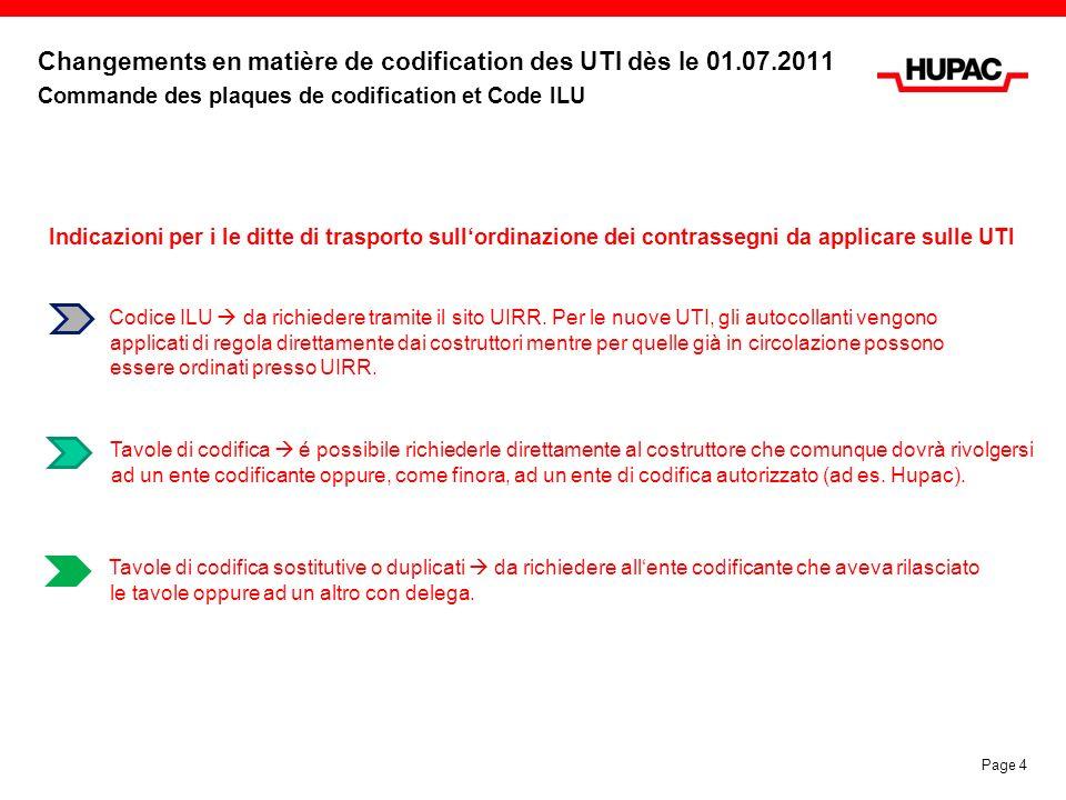 Changements en matière de codification des UTI dès le 01.07.2011 Commande des plaques de codification et Code ILU Codice ILU da richiedere tramite il