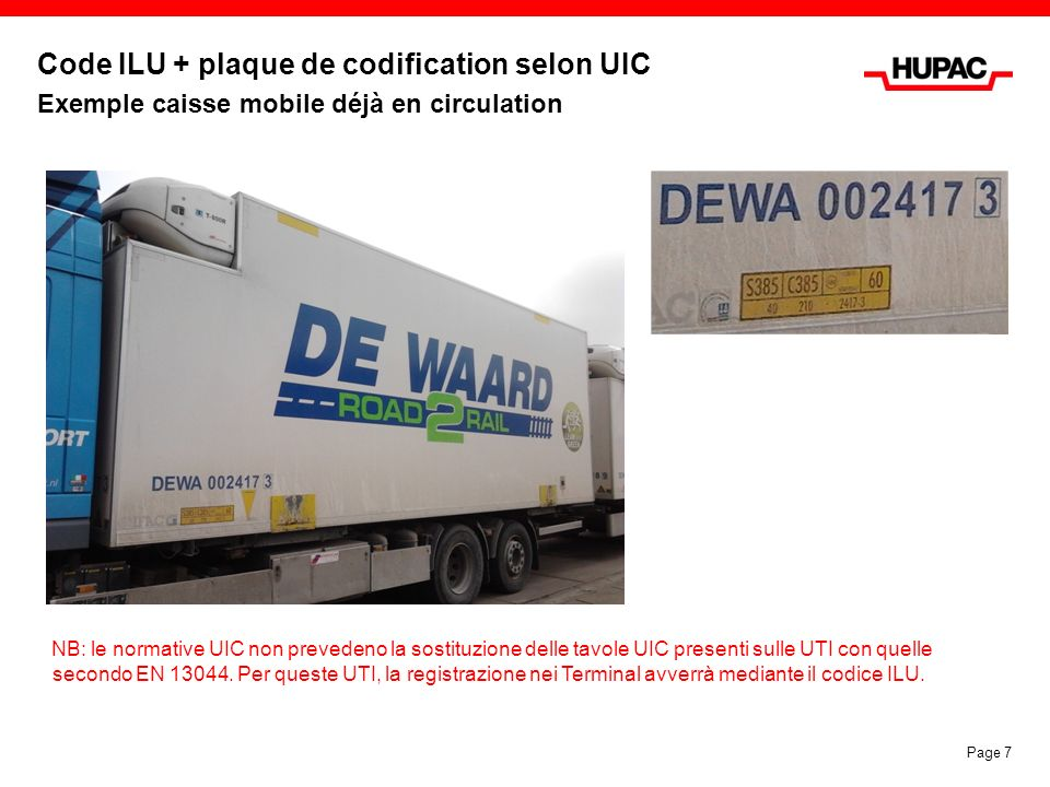 Code ILU + plaque de codification selon UIC Exemple caisse mobile déjà en circulation Page 7 NB: le normative UIC non prevedeno la sostituzione delle