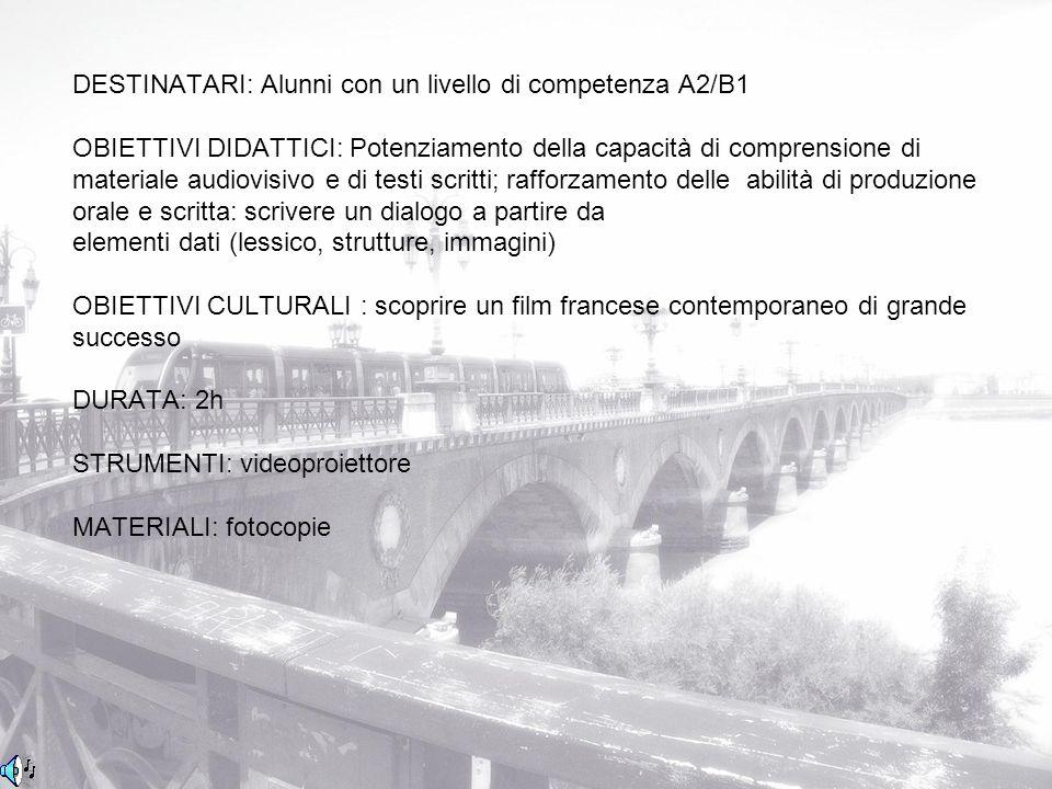 DESTINATARI: Alunni con un livello di competenza A2/B1 OBIETTIVI DIDATTICI: Potenziamento della capacità di comprensione di materiale audiovisivo e di