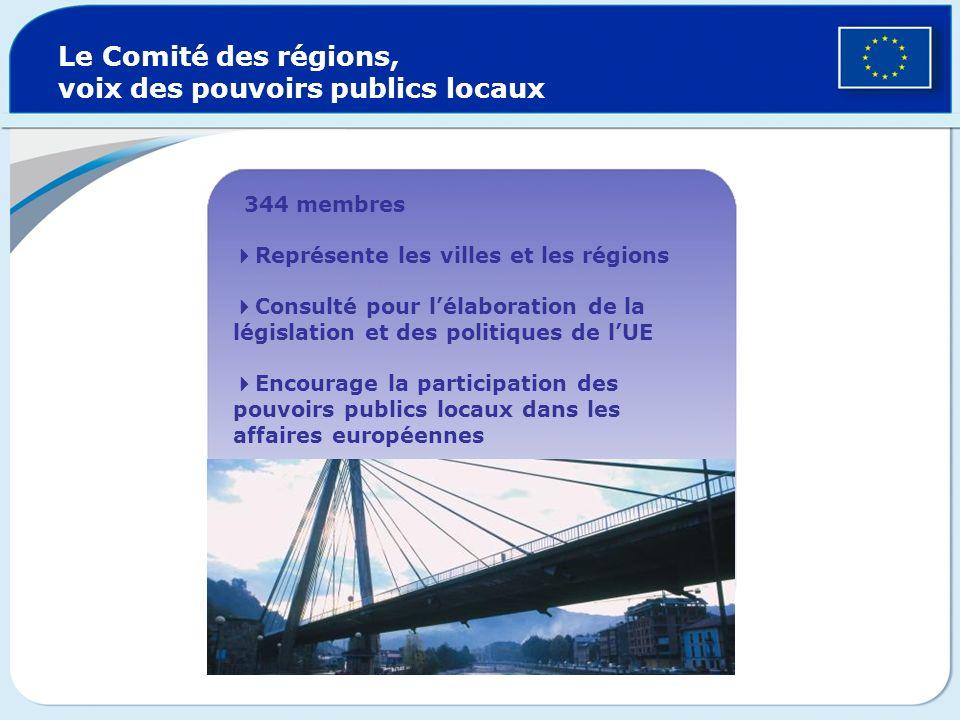 Le Comité économique et social européen, voix de la société civile 344 membres Représente les syndicats, les employeurs, les agriculteurs, les consomm