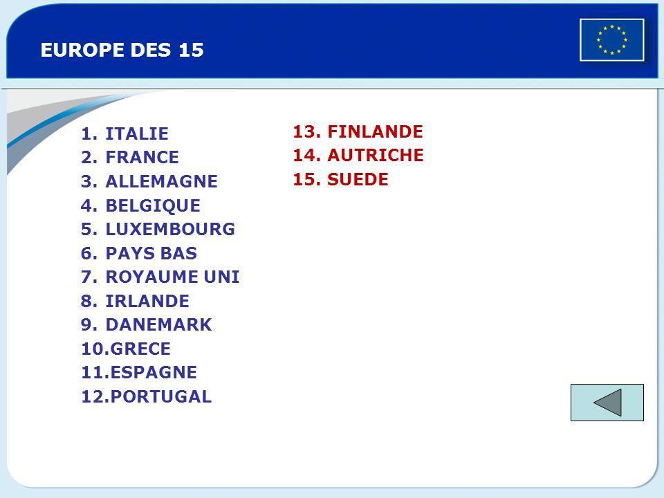 EUROPE DES 12 ITALIE FRANCE ALLEMAGNE BELGIQUE LUXEMBOURG PAYS BAS ROYAUME UNI IRLANDE DANEMARK GRECE ESPAGNE PORTUGAL