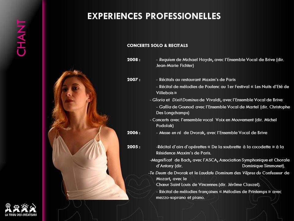 EXPERIENCES PROFESSIONELLES CONCERTS SOLO & RECITALS 2008 :- Requiem de Michael Haydn, avec lEnsemble Vocal de Brive (dir. Jean-Marie Fichter) 2007 :-