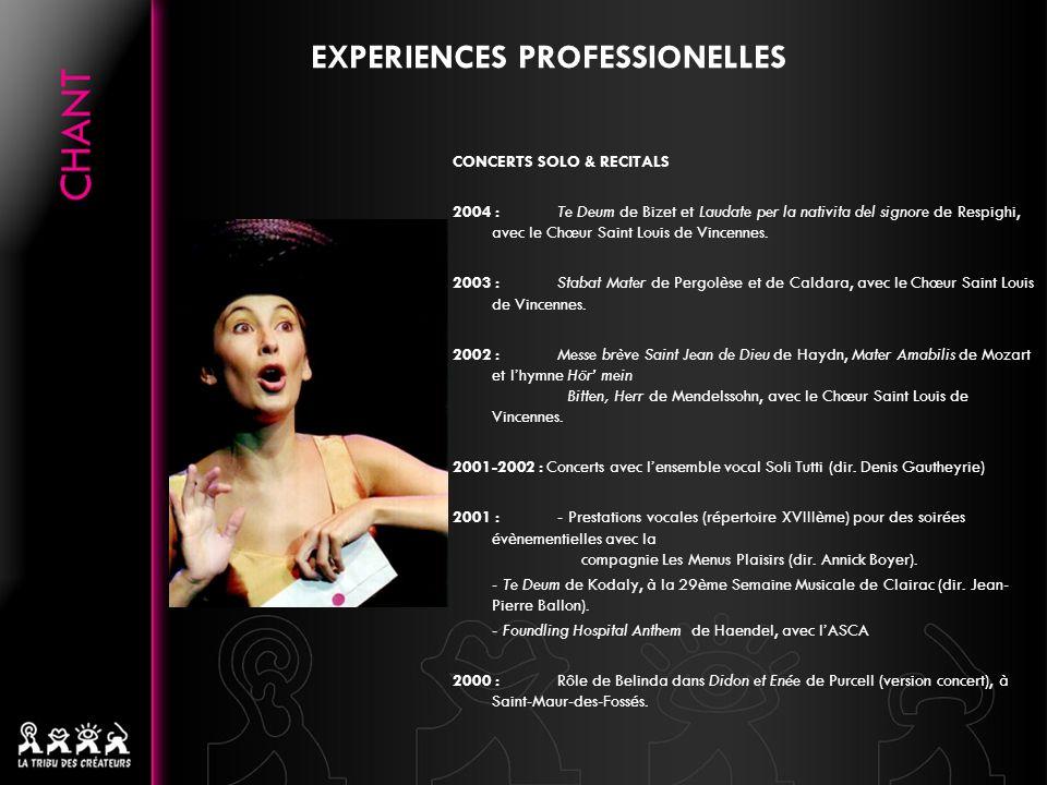 EXPERIENCES PROFESSIONELLES CONCERTS SOLO & RECITALS 2004 :Te Deum de Bizet et Laudate per la nativita del signore de Respighi, avec le Chœur Saint Lo
