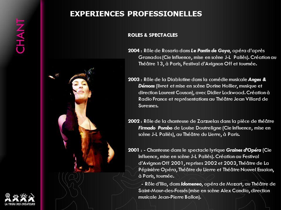 ROLES & SPECTACLES 2004 : Rôle de Rosario dans Le Pantin de Goya, opéra daprès Granados (Cie Influence, mise en scène J-L Paliès). Création au Théâtre