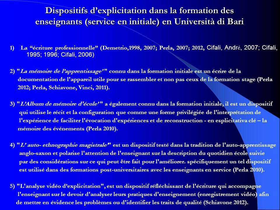 Dispositifs dexplicitation dans la formation des enseignants (service en initiale) en Università di Bari 1) La écriture professionnelle (Demetrio,1998, 2007; Perla, 2007; 2012, Cifali, Andr é, 2007; Cifali, 1995; 1996; Cifali, 2006) 2) La mémoire de lapprentissage connu dans la formation initiale est un écrire de la documentation de l appareil utile pour se rassembler et non pas ceux de la formation stage (Perla 2012; Perla, Schiavone, Vinci, 2011).